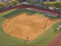 High angle view of a baseball diamond, New York City, New York State, USA by Panoramic Images
