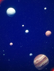 Conceptualized solar system with planets, Jupiter in foreground von Panoramic Images