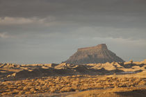 Arid landscape in winter, Factory Butte, Caineville, Wayne County, Utah, USA von Panoramic Images