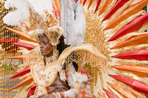 Woman in a red and Golden feathered costume in the Port of Spain carnival in Trinidad. by Tom Hanslien