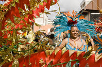 Woman in a turquoise feathered costume in the Port of Spain carnival in Trinidad. by Tom Hanslien
