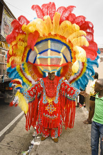 Man dressed as a Native American in the Port of Spain carnival in Trinidad. von Tom Hanslien