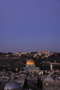 A view of the Old City of Jerusalem and the Dome of the Rock at night by Hanan Isachar