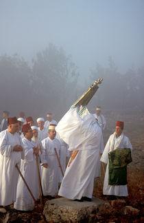 Samaritan pilgrimage to Mount Gerizim, raising the Torah scrolls by Hanan Isachar