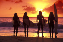 Surf girls sunset by Sean Davey