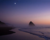 Cannon Beach Twilight Sunset and Moon by Chris Bidleman