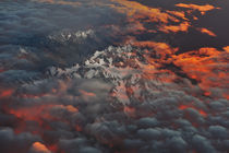 Aerial view of sunrise on the snow mountains of New Zealand by Peerakit Jirachetthakun