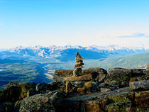 Inukshuk atop The Whistlers Mountain by Joel Morin