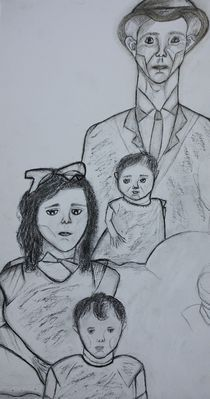 Charcoal Sketch, Family Portrait  by Christina Rodriguez