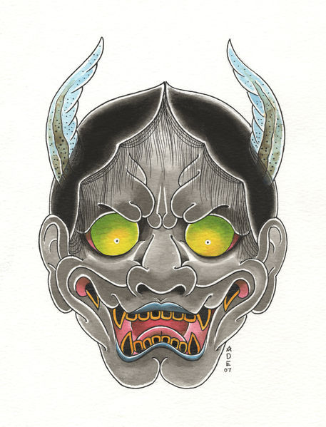 hannya mask drawing art prints and posters by adrian stacey artflakes com. Black Bedroom Furniture Sets. Home Design Ideas