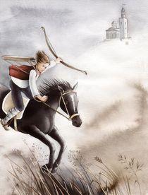 Schwarzes Pferd mit Reiter von Denitza Gruber