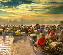 'Morning at Floating Market' von Randy Rakhmadany