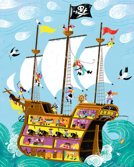 """""""Pirates galleon"""" Drawing art prints and posters by Migy ..."""