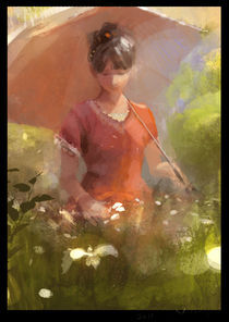 flower and girl by Laober Zhu