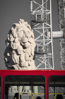 London, South Bank/County Hall Lion, London Eye and London Bus by Alan Copson