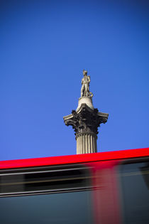 London. Trafalgar Square. Nelson's Column and Double Decker Bus. by Alan Copson