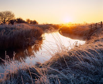 Winter Sunrise over the River Brue at Glastonbury, England. by Craig Joiner