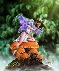 Fairy with Mushrooms by Alejandro Gutierrez Franco