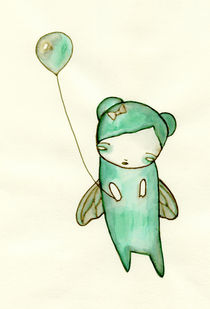 Little Green Fairy with Balloon by Lindsey Cormier