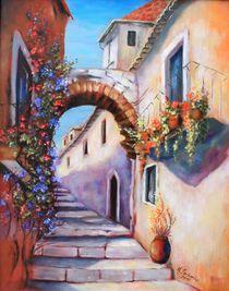 Mediterrane Gasse - Mediterrane Bilder Malerei von Marita Zacharias