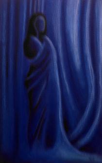Akt mit Tuch in Blau I
