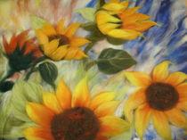 Wollebild Sonnenblumen 2 von Birgit Albert