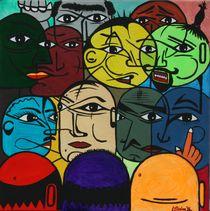 Versammlung 1996 65 x 65 cm - VERKAUFT ! by Harry Stabno