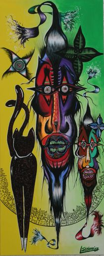 Voodoo-Geister 2007 50 x 120 cm by Harry Stabno
