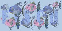 Fischeausflug, Kinderzimmerbild, Poster für Kinder von Rika Handke