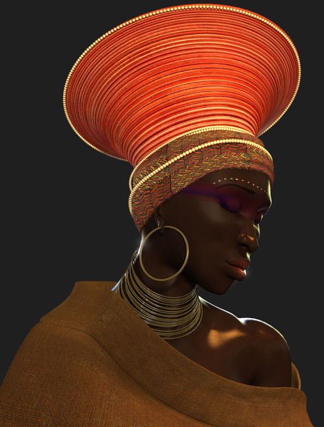 "Zulu Female 3d model Angle2"" Digital Art art prints and posters by ..."