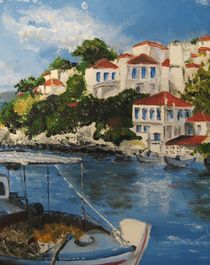 Skiathos Harbour by Jackie Hagan
