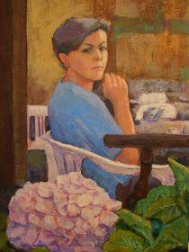Frau mit Hortensie oder einen Espresso bitte von alfons niex