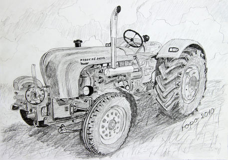 quotoldtimer trecker old tractorquot drawing art prints and