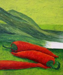 Stilleben mit Gemüse Triptychon Teil 2 -  Chilli von Andrea Meyer