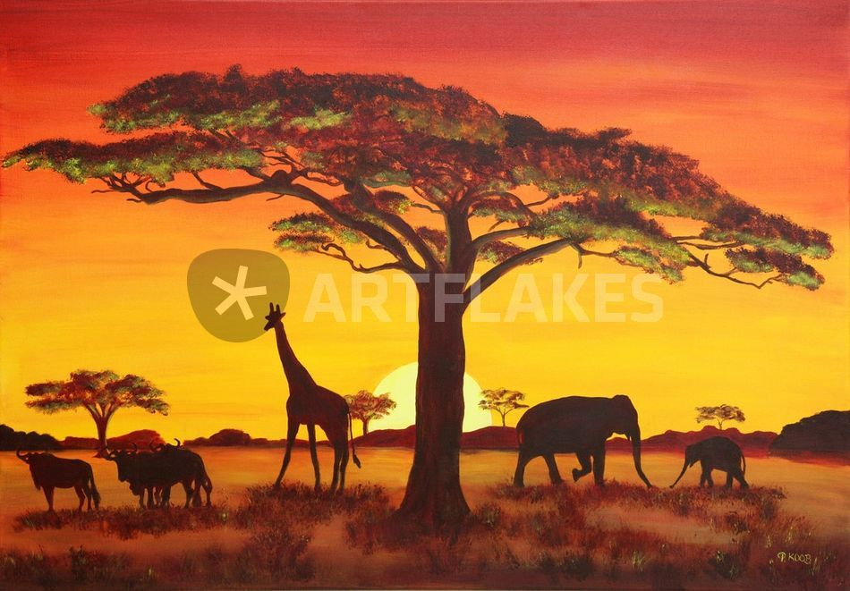 sonnenuntergang in afrika malerei als poster und. Black Bedroom Furniture Sets. Home Design Ideas