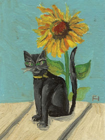 Sunflower and cat von Norbert Hergl
