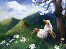 Träumendes Schaf im Frühling von Annette Kretzschmar