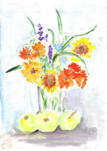 Blumenstrauß mit Augustäpfeln by Heike Nedo