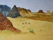 In der Wüste  Gouache auf Leinwand, 30x40 by Tetyana Vasylyeva