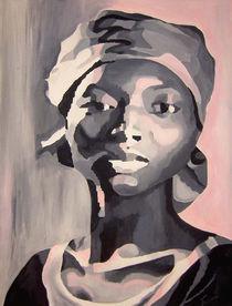 Portrait schwarz rosa von Sabine Freivogel