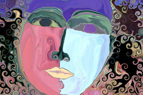 quotzwei gesichterquot malerei als poster und kunstdruck von