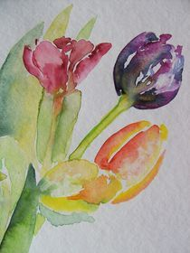 TULPEN STILLEBEN AQUARELL by ulk
