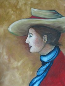 Frau mit blauem Schal by Gabriele Schilling