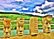 Moais am Rhein by Hans Haller