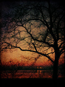 Sunset over lake by Evita Knospina