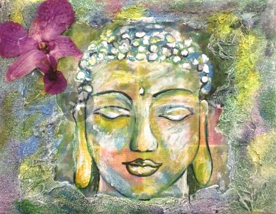 Buddha mit orchidee malerei als poster und kunstdruck for Buddha bestellen