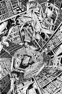 Die Bibliothek - Tusche by Guido Paul