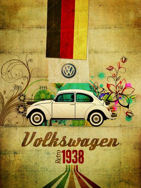 """Volkswagen European Delivery >> """"Volkswagen retro 1938"""" Graphic/Illustration art prints ..."""