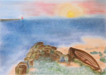 Boot am Strand - Boat on the beach by Patti Kafurke