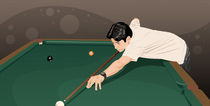 Man playing pool von Kazuo Kubo